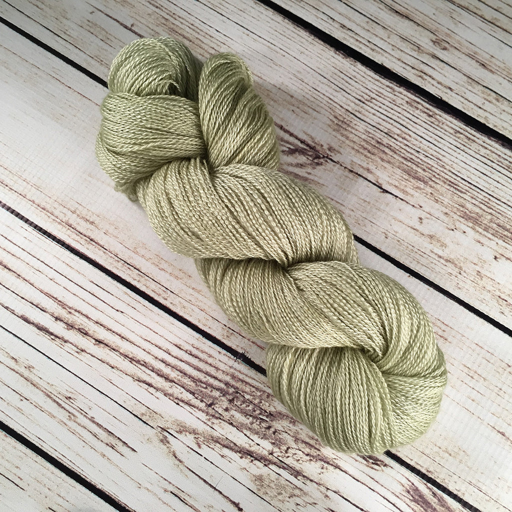 Celery Fields Anna Maria Cashmere Mulberry Silk Yarn Hand Dyed by Kitty Bea Knitting