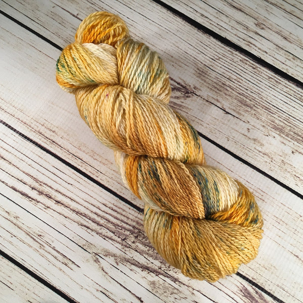 Goldenrod Casey Superwash Merino Wool Yarn Hand-Dyed by Kitty Bea Knitting