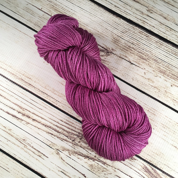 Siam Orchid Crescent Superwash Ultrafine Merino Wool Silk Yarn Hand-Dyed by Kitty Bea Knitting