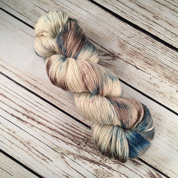 Sandbar Longboat Bluefaced Leicester Wool Baby Alpaca Yarn Hand Dyed by Kitty Bea Knitting