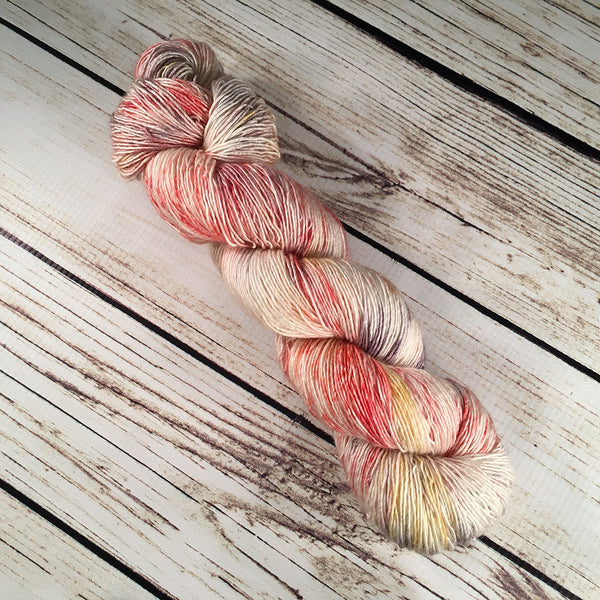 Fruitville Sanibel Superwash Merino Wool Silk Yarn Single Ply Hand-Dyed by Kitty Bea Knitting
