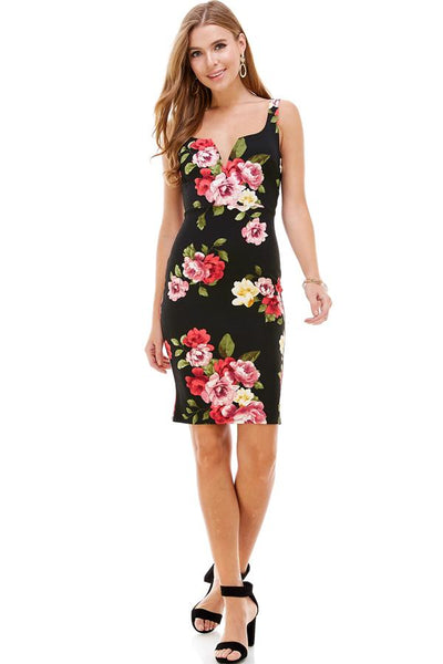 Large Floral Printed V-Line Sleeveless Fitted Knit Dress - Regeneration Zone