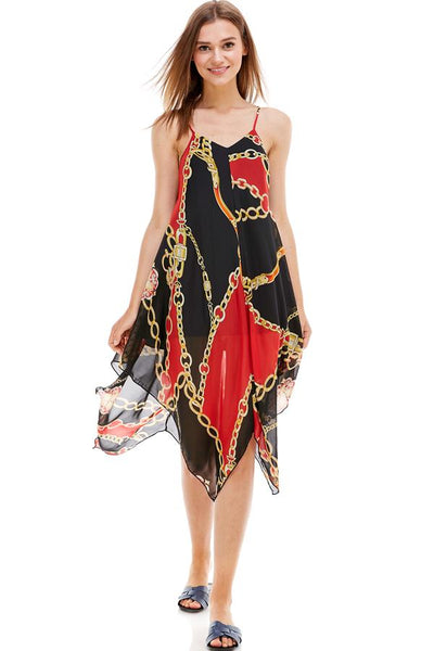 Chain Print Hanky Hem Scarf Midi Dress