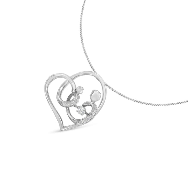 Sterling Silver 1/6 ct TDW Diamond Heart Pendant