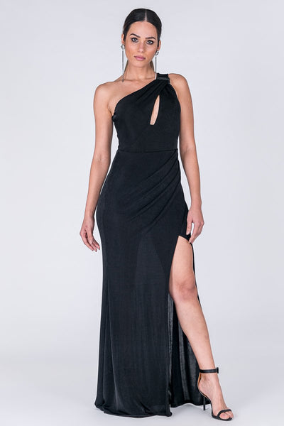 ONE SHOULDER BLACK LONG DRESS - Regeneration Zone
