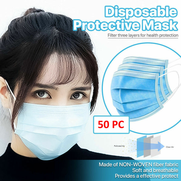 [50 PCS] 3-Ply Disposable Face Mask Non Medical Surgical Earloop