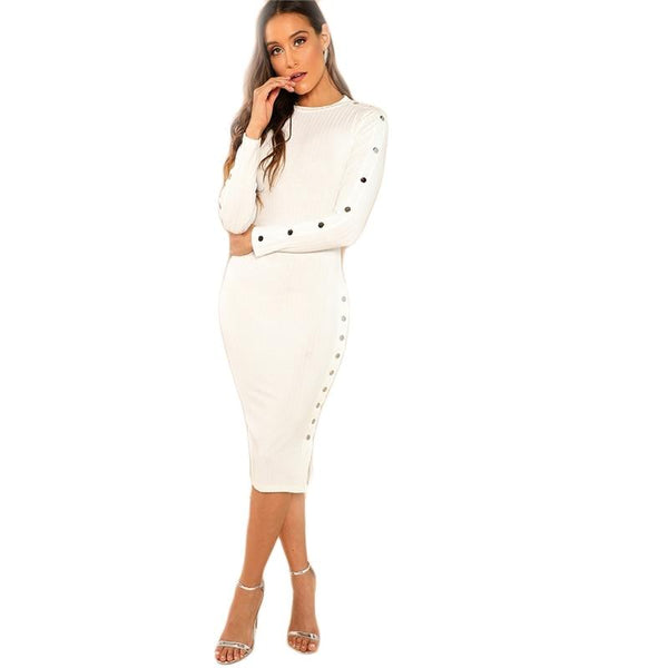 White Solid Mock Neck Rib Knit Long Sleeve Bodycon Dress