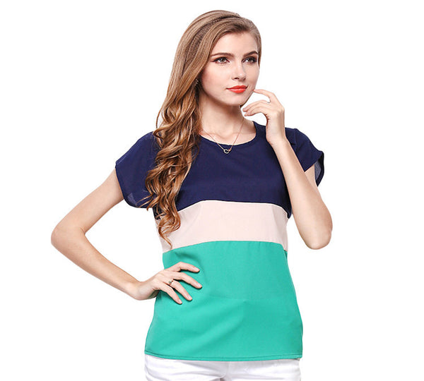 Free Shipping 2016 New Women Summer T-shirt Fashion Short Sleeve O-neck Chiffon Tops Casual Slim Fit Patchwork Female Tee