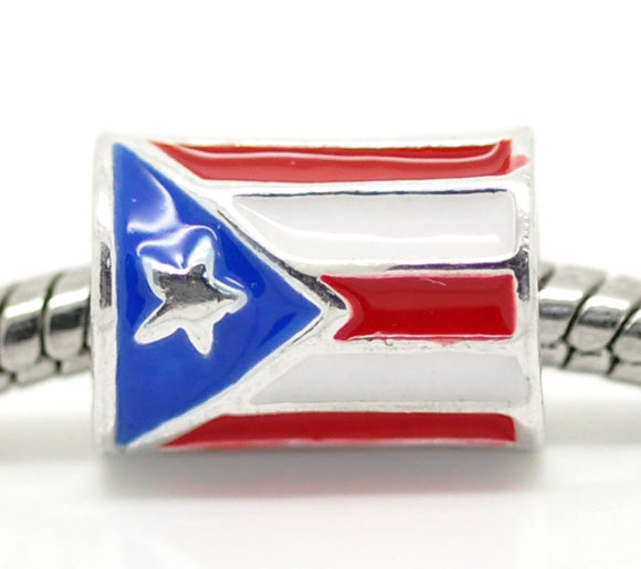 Hot Sale! 4x20 silver color Cylindrical Puerto Rico Flag European Charm Beads 12x9mm  For Jewelry Making