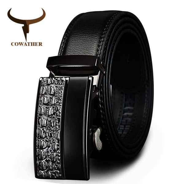 COWATHER men's fashion100% Genuine Leather belts for men High quality metal automatic buckle Strap male Jeans cowboy free shippi - Regeneration Zone