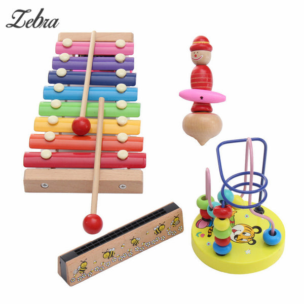 4Pcs Kids Infants Educational Piano Toys Xylophone Wooden Toys Musical Instrument Glockenspiel Toy Gift For Child