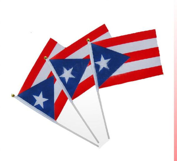 Free shipping  Puerto Rico  hand waving  flag - wholesale 140 country hand flag mixed 100 pcs/lot