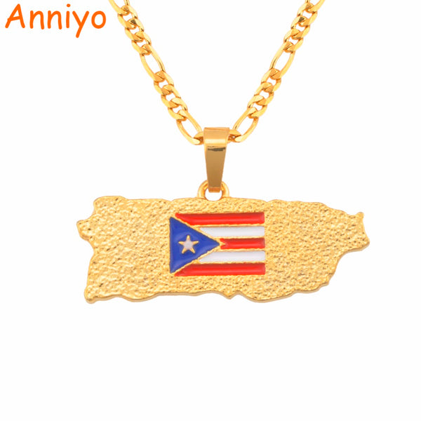 Anniyo Puerto Rico Map Flag Pendant Necklaces for Women/Men Gold Color PR Puerto Ricans Jewelry Gifts #117006 - Regeneration Zone