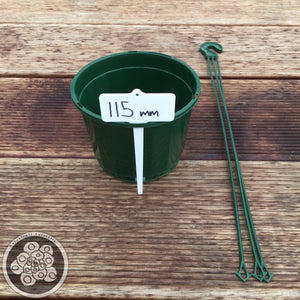 A Plastic Hanging Basket Green - 3 sizes 115mm - 140mm - 170mm