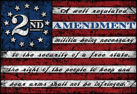 "2nd Amendment Flag™ Sticker Decal 5"" x 3.5"""