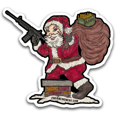 "Limited Edition - 2nd Amendment™ Santa - 4"" x 3.5"" Sticker Decal"