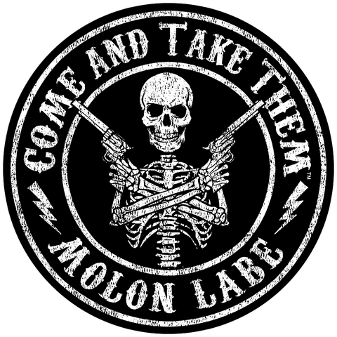 "Come And Take Them™ Molon Labe - Gun Slinger - Circle Sticker Decal 5"" x 5"""