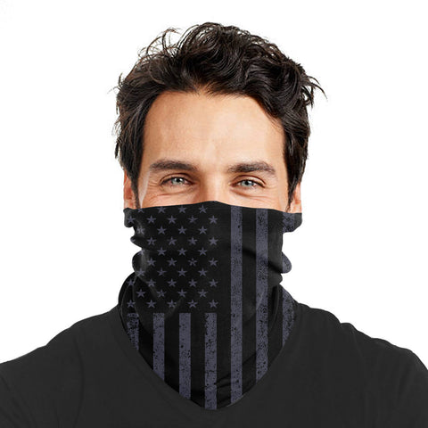 Gray American Flag Washable Reusable Face Mask Shield Gaiter
