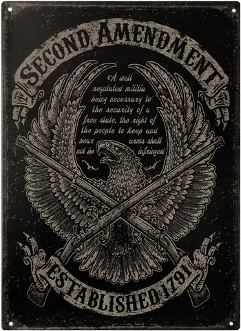 "2nd Amendment™ - Freedom Eagle - Vintage Tin Sign 11"" x 16"""