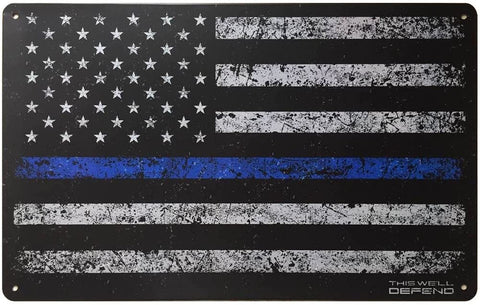 "Thin Blue Line Flag Vintage Tin Sign 10"" x 16"""