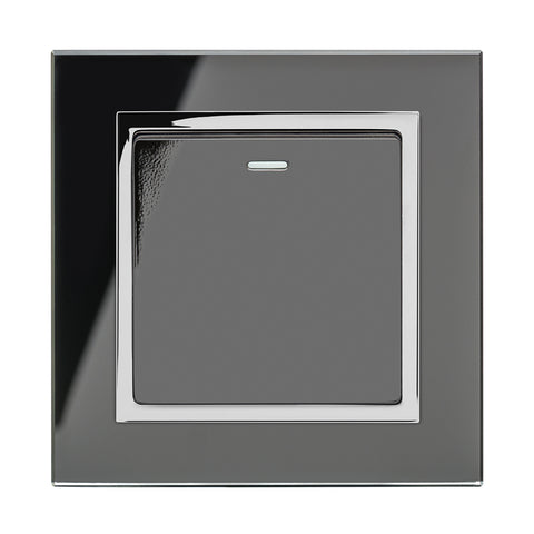 Crystal CT 1 Gang Rocker Light Switch Black