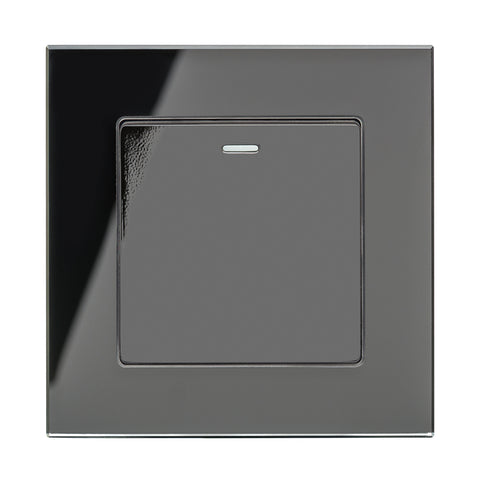 Crystal PG 1 Gang Rocker Light Switch Black Intermediate
