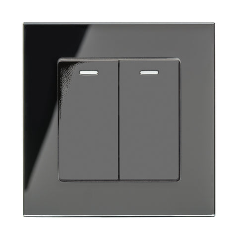 Crystal PG 2 Gang Rocker Light Switch Black