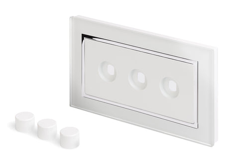 Crystal CT 3 Gang LED Dimmer Plate White