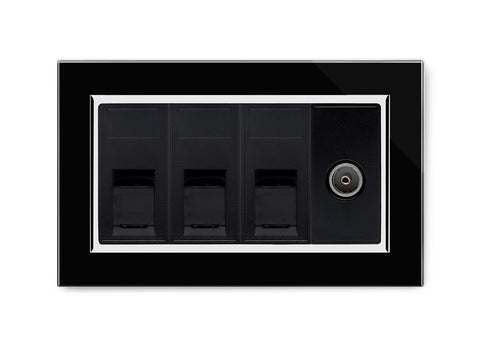Triple RJ45 + TV Socket Black CT