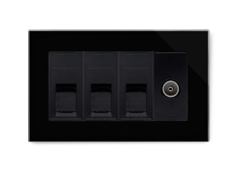 Triple RJ45 + TV Socket Black PG
