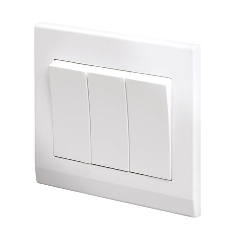 Simplicity Mechanical Light Switch 3 Gang White