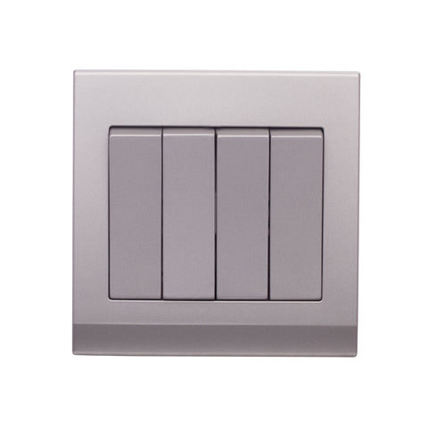 Simplicity Mechanical Light Switch 4 Gang Mid Grey