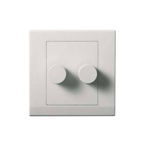 Simplicity LED Dimmer Switch 2 Gang 2 Way White
