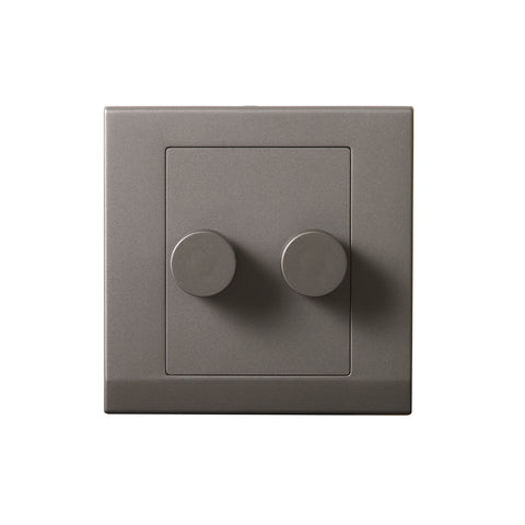 Simplicity LED Dimmer Switch 2 Gang 2 Way Mid Grey
