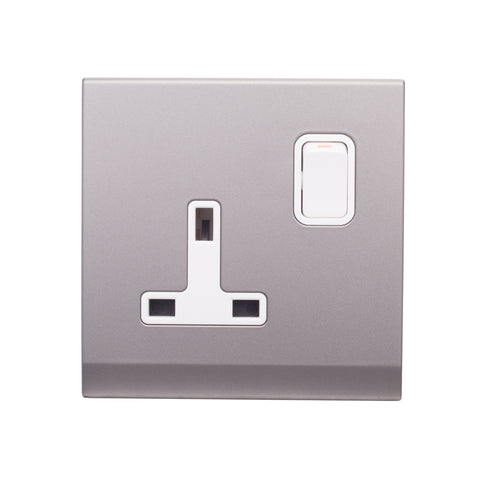 Simplicity 13A DP Single Plug Socket with Switch Mid Grey