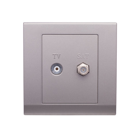 Simplicity Coaxial TV + FM Socket Mid Grey