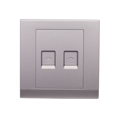Simplicity Double CAT5e  Socket Mid Grey