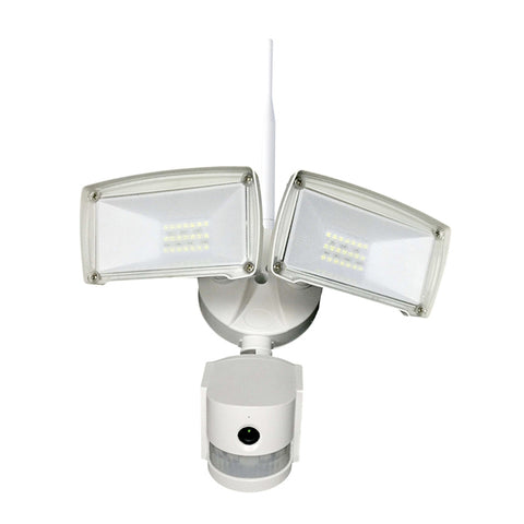Wifi Outdoor Twin PIR LED Floodlight & Security Camera with 2 way audio White body)