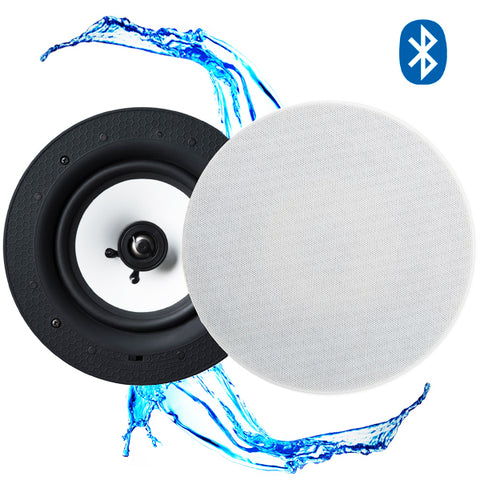 "Lithe Audio 6.5"" IP44 Waterproof Wireless Bluetooth Ceiling Speaker (BATHROOM PAIR - MASTER & SLAVE)"