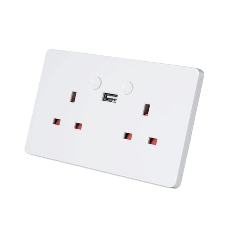 Smart Wifi 2 Gang 13A 1 USB Twin Double Switched Plug Socket