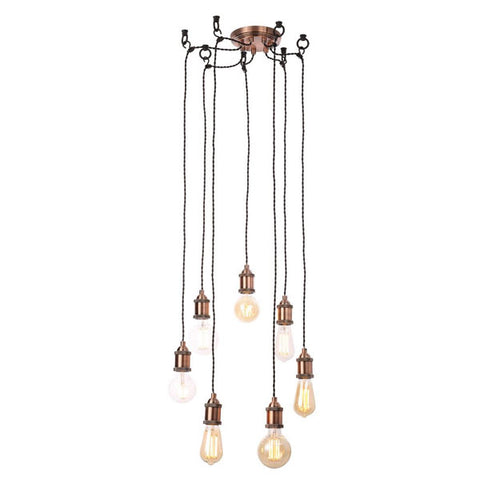 Vintage Style 7 Light Ceiling Cluster Pendant - Antique Copper