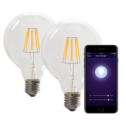 Smart WiFi Dimmable CCT G95 8.5W LED Filament Bulb 2 x Pack