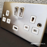 Satin Chrome 2 Gang 13A 2 USB Twin Double Switched Plug Socket - White Trim