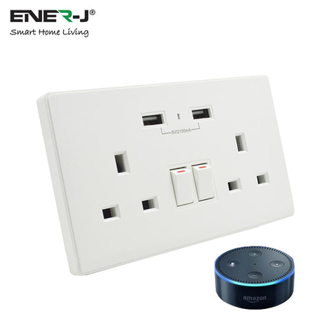 Smart WiFi Twin Socket 13A with 2 USB