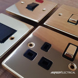 Polished Brass Cooker Control 45A With 13A Switched Socket & 2 Neons - Black Trim