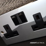 Polished Chrome 2 Gang 13A 1 USB Twin Double Switched Plug Socket - Black Trim