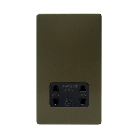 Screwless Bronze Shaver Socket 230/115V