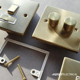Satin Brass 2 Gang Blank Plate