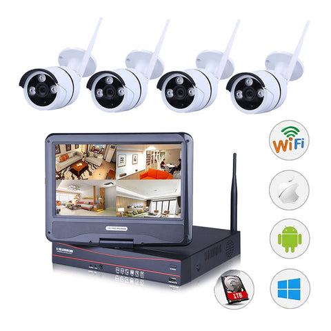 Outdoor Wireless IP Camera System WIFI NVR (4 IP Cameras with a NVR. 4CH 720P Wireless IP Camera & 10inch Monitor, 1 TB Hard Disk).