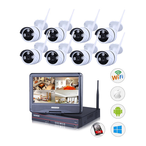 Outdoor Wireless IP Camera System WIFI NVR (8 x New 720O IP Compact CMOS IP66 Camera EZVIZ Video NVR DIY CCTV Set. 10 inch monitor, 2 TB Hard Disk).